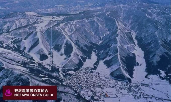 Nozawa Onsen - aerial picture of village