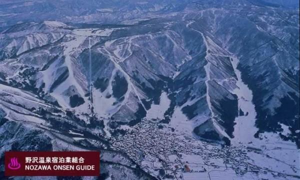 Nozawa Onsen - aerial picture of village